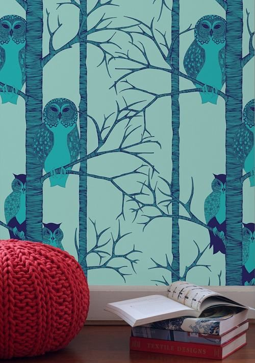 #owls #wallpaper and #knit pouf