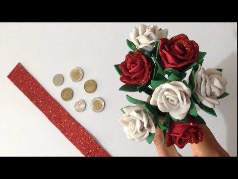 اجمل واسرع طريقه لعمل بوكيه ورد من الفوم مشروع وردات بقطعه صغيره من الفوم Youtube Crown Jewelry Flowers Cards