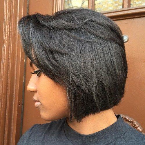 Black Blunt Bob With Feathered Bangs Short Bob Hairstyles Hairstyles With Bangs Bobs Haircuts