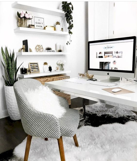 Minimalist Home Office Scandinavian Interior Nordic Design Soft Carpet Cozy Armchair Plants Custom In 2020 Cozy Home Office Home Office Decor Home Office Space