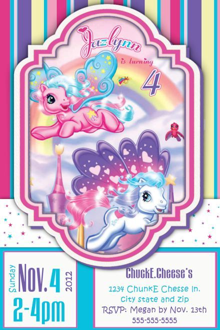 My Little Pony Birthday Invitationcustom birthday invitation – My Little Pony Personalized Birthday Invitations
