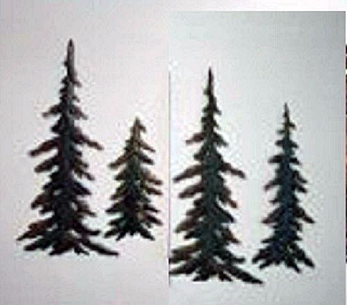 4 Pc Evergreen Pine Tree Woodland Metal Wall Art Set Decor 24 1 4