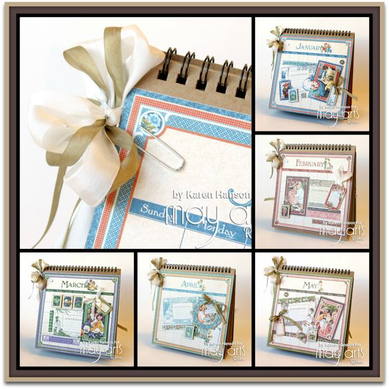 Monthly Card Organizer by Karen Hanson using Graphic 45 and May Arts Ribbon #graphic45
