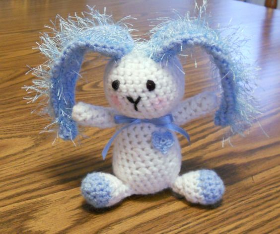 Blue and White Crocheted Bunny by thecrafter on Etsy, $15.00