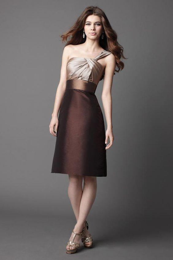 Toast/Nutella/Chocolate One Shoulder Short Bridesmaid Dress ...