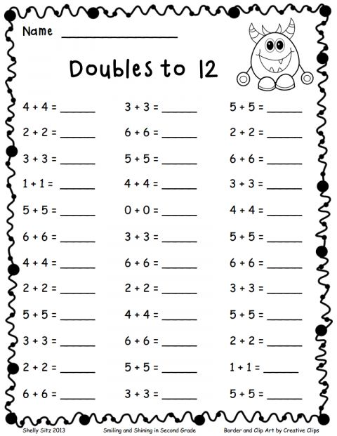 10 Math Doubles Fact Worksheet In 2020 First Grade Math Worksheets First Grade Worksheets Kindergarten Math Worksheets