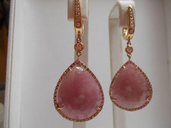 Preziosi orecchini con raro Zaffiro Rosa naturale 23,54 ct con certificato