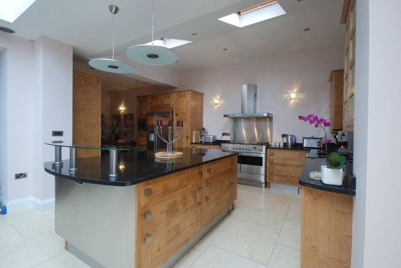 Solid wood kitchen with large island unit