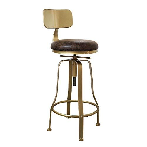 Livingroom Furniture Stools Upholstered Swivel Lift Chair Barstools Height 60 80cm Adjustable High Stool With Gold Iron Bar Stools Bar Stools With Backs Stool
