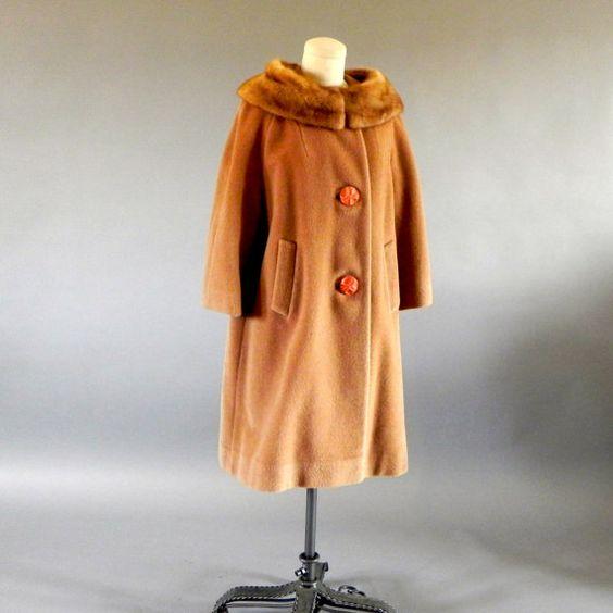 1960s Camel Wool Coat/Mink Fur Collar/Soft Brushed by EGVintage, $145.00