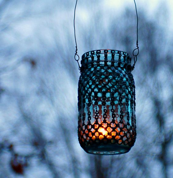 These are so cool! Custom Designed Blue Glass Mason Jar Lantern