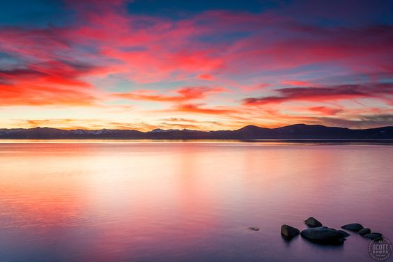 """""""Tahoe Boulders at Sunset 9"""" - These boulders were photographed at sunset along the East Shore of Lake Tahoe."""