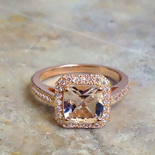 14k Rose Gold Vintage Morganite Engagement Ring Diamond Wedding Band 7x7mm Cushion Pink Peach Morganite Ring