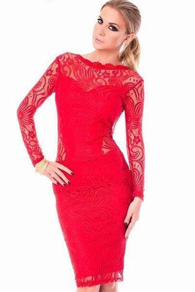 Vestido encaje rojo de fiesta y de largo medio espectacular para estas fiestas que se acercan