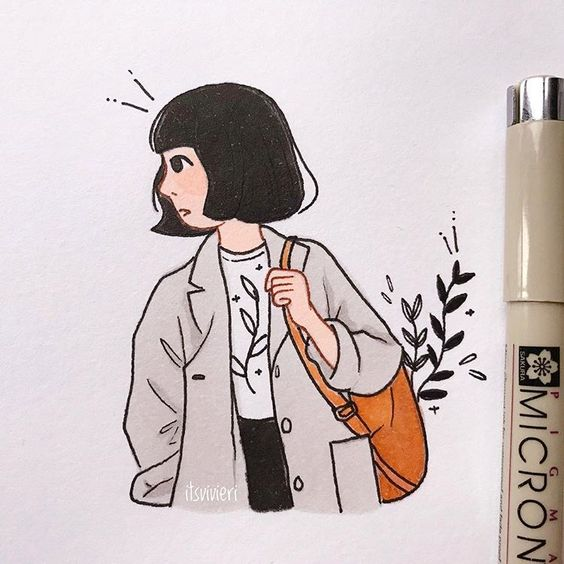 itsvivieri: Copic Girl 2 | The black marker is not black enough to my liking 🙉