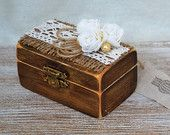 Jewelry Box Wooden Boxes Shabby Chic Rustic holder jewelry storage Organizer Gift Burlap Roses Ring Necklace Holder