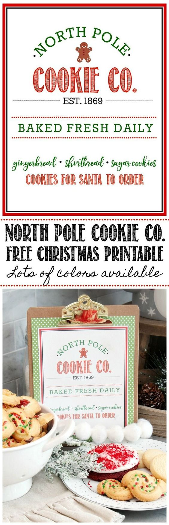 "North Pole Cookie Co. Free Christmas Printable | Clean and Scentsible ""This free North Pole Cookie. Co Christmas printable will be a fun addition to your Christmas decor. Great for Christmas parties and cookie exchanges too!"""