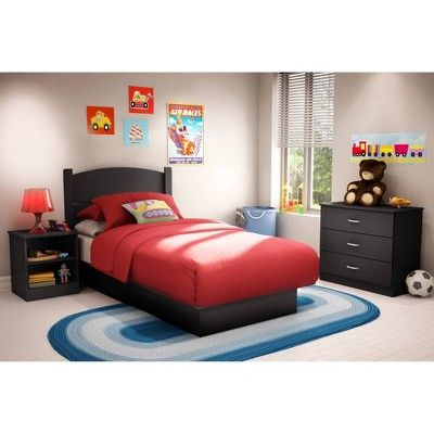 Libra 3 Piece Bedroom Twin Pure Black - South Shore