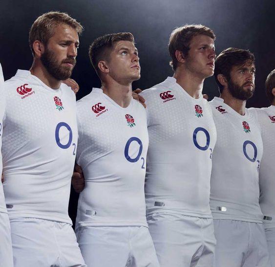 England parade their new home shirt