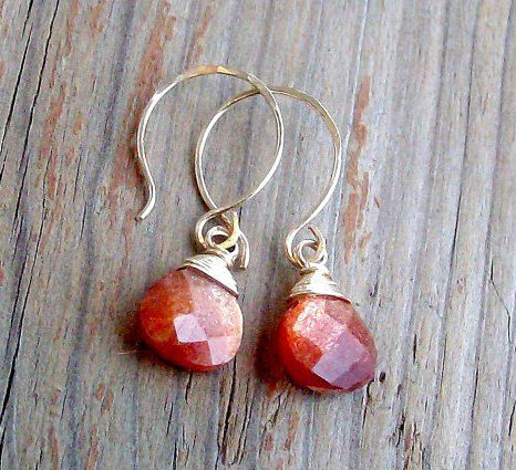 SALEShimmery Sunstone and 14k Goldfill Earrings. by DivineByDeidre, $45.00