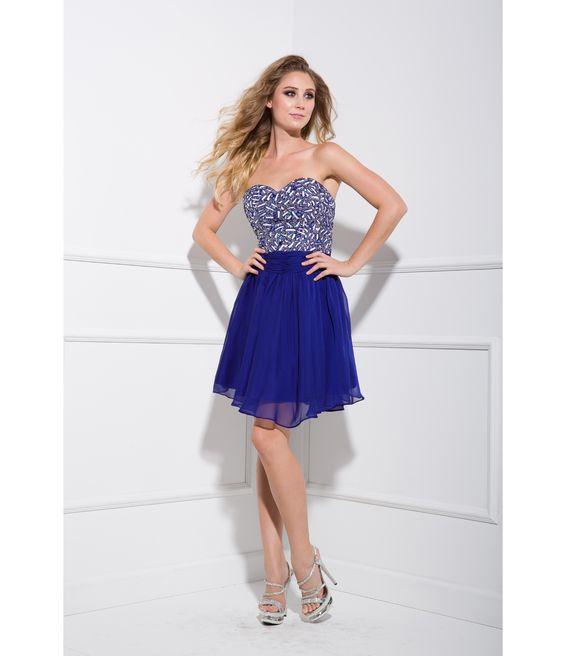Royal Blue Sequin &amp- Chiffon Strapless Short Prom Dress - Evening ...