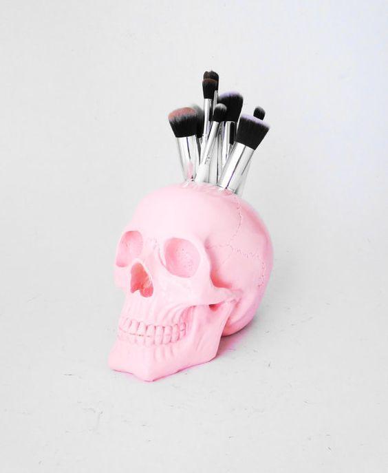 NEW Large Skull Brush Holder Skull Makeup Brush by hodihomedecor