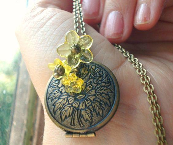 Sunflower Locket Brass Locket Necklace Brass by RhondasTreasures, $24.00