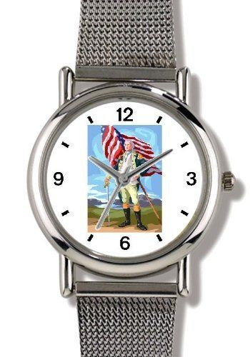 President and General George Washington American Theme - WATCHBUDDY® ELITE Chrome-Plated Metal Alloy Watch with Metal Mesh Strap-Size-Small ( Children's Size - Boy's Size & Girl's Size ) WatchBuddy. $79.95