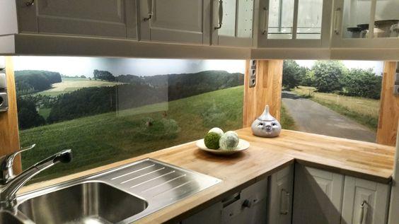 Küchenrückwand aus ESG-Glas mit eigenem Motiv Küchenrückwände - fototapete für küchenrückwand