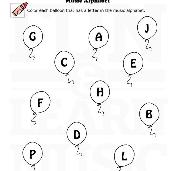 fun music worksheet for learning the music alphabet let 39 s color some balloons music alphabet. Black Bedroom Furniture Sets. Home Design Ideas