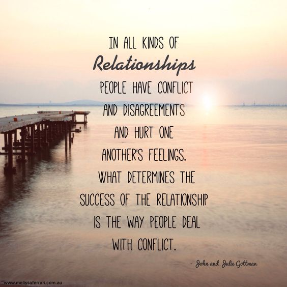 In all kinds of relationships, people have conflict and disagreements and hurt one another's feelings. What determines the success of the relationship is the way people deal with conflict. -Melissa Ferrari  Couple Therapist www.melissaferrari.com.au