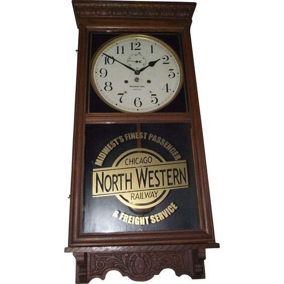 Chicago North Western Railway Wall Regulator Clock With Waterbury 30 Day Movement Circa Clock Old Clocks Antique Clocks