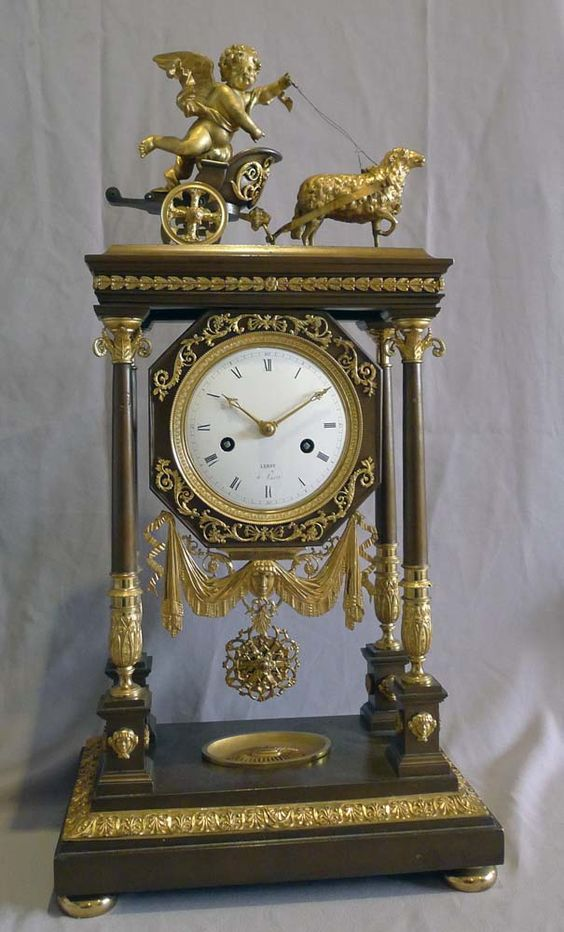Antique French Empire Portico Clock by Leroyin, In Painted Bronze And Ormolu - France   c.1810-1822