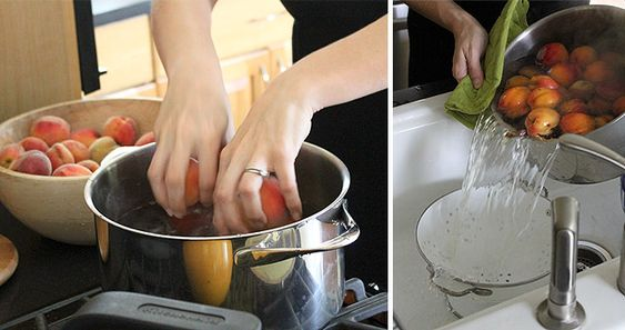 How to blanch peaches for easy peeling.