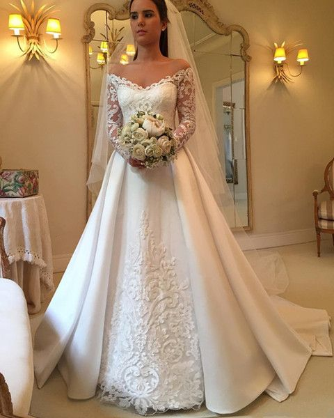 Discount 2018 Country Wedding Dresses A Line Off Shoulder Long