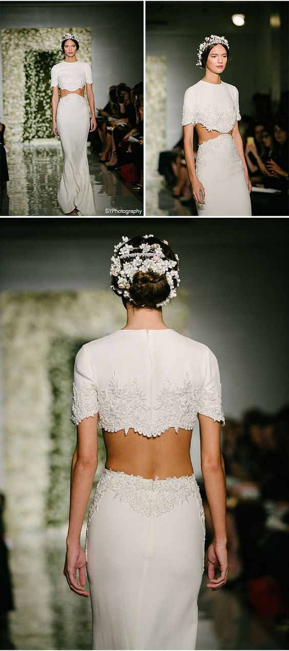 Midriff Baring Wedding Dresses! Would You Rock This Look? | SYPhotography | Reem Acra Fall 2015 Collection