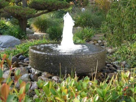Garten Gestaltung Mit Wasser Springbrunnen  Quellstein Hintergründige Expressivität