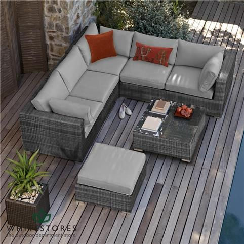 Maze Rattan - London Corner Sofa Set - Grey | White Stores
