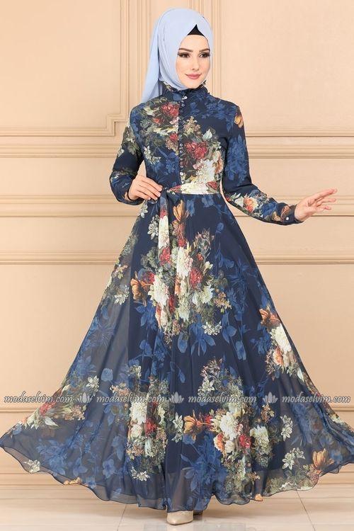 Modaselvim Elbise Desenli Sifon Elbise Ygs6211 Indigo Sifon Elbise Islami Giyim Cicekli Elbise