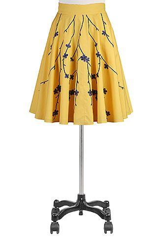 I <3 this Floral embellished poplin full skirt from eShakti