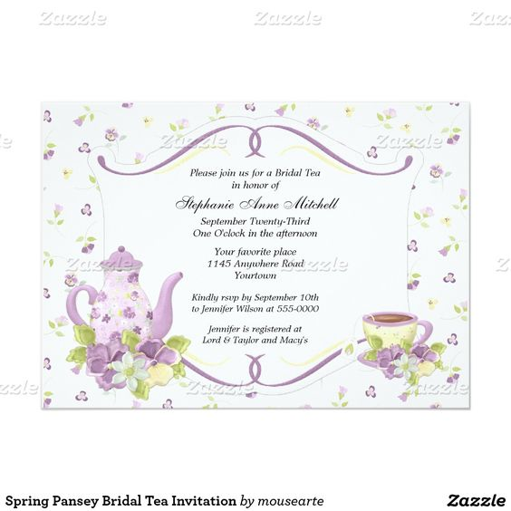"Spring Pansey Bridal Tea Invitation 5"" X 7"" Invitation Card"