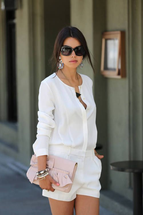 All white outfit. Dressy shorts. Summer dress up | Summer shorts ...