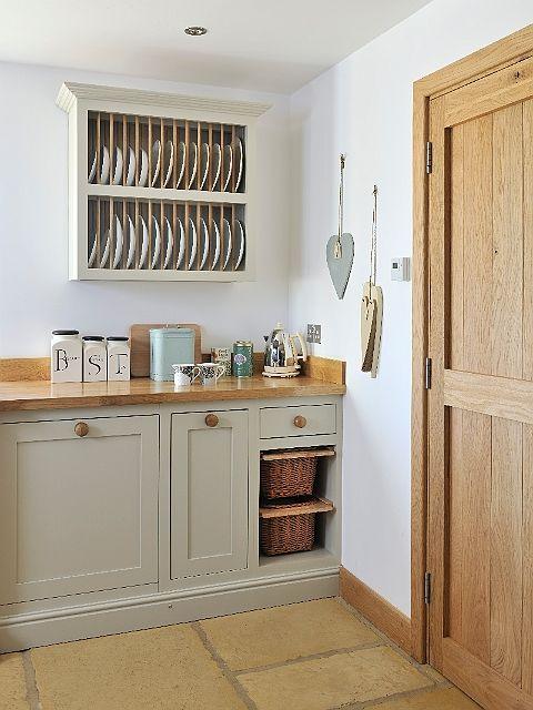 Door style, Shaker. Colour, PF Little Olive & Oak cabinets. Oak Worktop