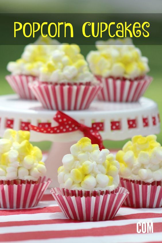 Popcorn Cupcakes - Perfect for your Oscars Party! | A Mother Thing