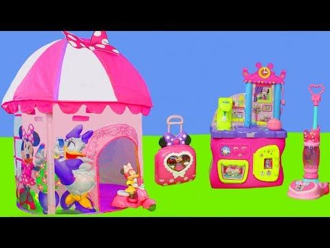 Minnie Mouse Unboxing Play Tent Bow Tique Kitchen Refrigerator Toy Vehicles Dolls For Kids Youtube Kids Room Design Girls Kids Forts Play Tent