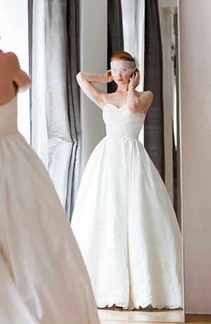 Bridal Gowns: Judd Waddell A-Line Wedding Dress with Sweetheart Neckline and Natural Waist Waistline