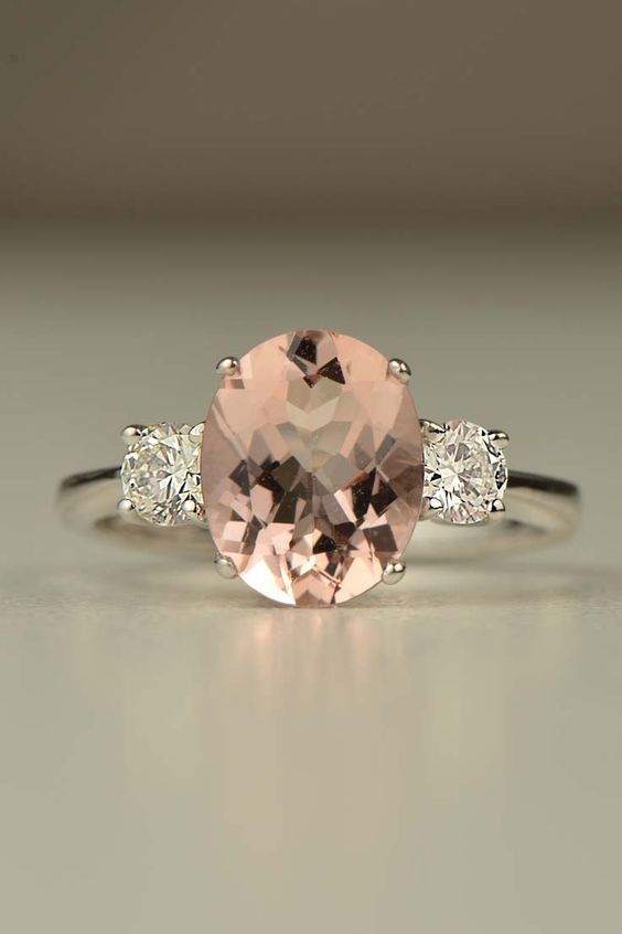 hand made 18ct white gold 2ct Morganite ring with 0.4ct of diamonds - Deer Pearl Flowers / http://www.deerpearlflowers.com/wedding-rings-jewelry/hand-made-18ct-white-gold-2ct-morganite-ring-with-0-4ct-of-diamonds/