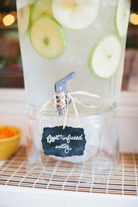 "tiny little hanging sign for ""fruit infused water"". Bridal shower. Weddings. Custom signage. Custom chalk"