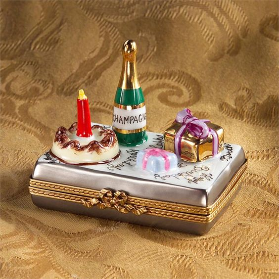 Limoges Happy Birthday with Champagne, Cake and Gift Box
