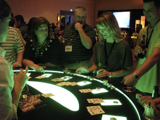 Purple Lighted Black Jack Table For Casino Parties Theme